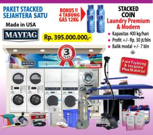 PROMO PAKET MESIN LAUNDRY KILOAN STACKED CASH KREDIT